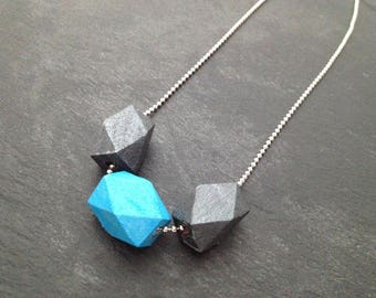 Geometry in blue and grey - silver necklace
