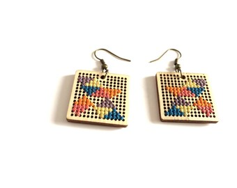 Square or Triangle earrings? Wood and cross stitch