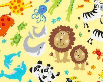 Jungle Animals in Yellow from the Noah's Ark Collection from Timeless Treasures, Nursery Fabric, Baby Fabric