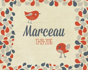 Blue and Red birds and petals birth announcement