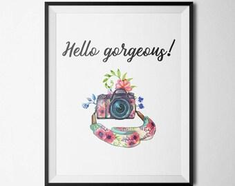 Hello Gorgeous Printable Camera Wall Art Antique Camera Floral Camera Pink Flowers Teal Camera Printable Camera Quote Print Camera Decor