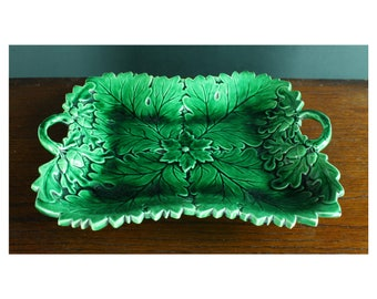 Victorian ceramic dish - antique green leaf shallow ceramic dish - 19th century green ceramic dish - birthday gift // housewarming gift