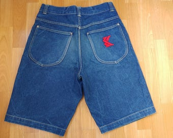 KARL KANI shorts, hip hop jeans denim shorts of 90s hip-hop clothing, old-school, 1990s, gangsta rap, vintage, OG size W 32