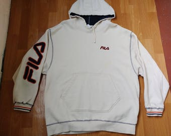 FILA hoodie, vintage white sweatshirt, 90s hip-hop clothing, 1990s hip hop shirt, old school, og rap, cotton, sewn, size XXL 2XL Made in USA