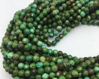 Dark Green Turquoise Faceted Round Gemstone Loose Beads Size 4mm 15.5 Inches per Strand. R-M-TUR-3082018-2