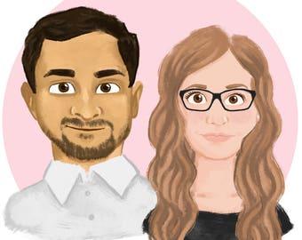Custom Cartoon Couple Portrait, Custom Illustration