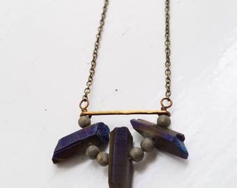 Titanium Quartz + Hammered Metal Necklace