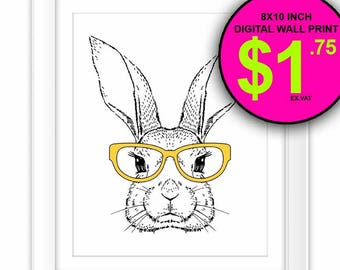 Hipster Wall Art Print, Instant Download, 8x10 Inch, Intellectual Rabbit, Yellow, Reading Glasses, Rabbit, Bunny, Illustration, Kids Room