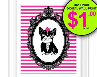 French Bulldog Wall Art Print, Instant Download, 8x10 Inch, Digital Print