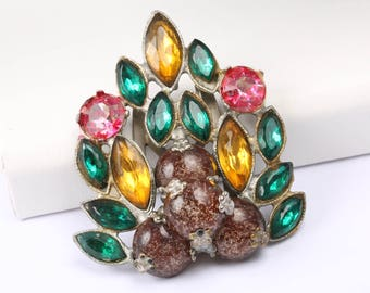 Vintage 1930s Dress Clip with Brightly Coloured Rhinestones