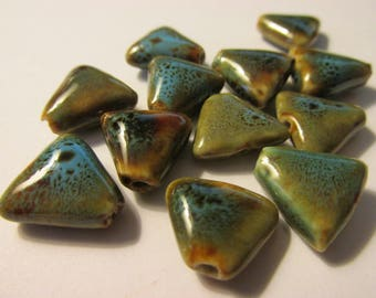 Speckled Blue-Green Triangle Ceramic Beads, 15mm, Set of 12