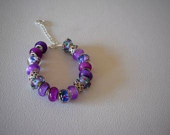 European beaded fashion beacelet pandora style womans silver plated glass beads lampwork