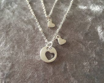 Silver Set of Two Necklaces ideal present for 2 Friends, Sisters, or 2 generations or Mother and Child..