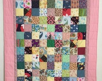 Baby Girl Quilt, SALE PRICE Quilt, Patchwork baby quilts, I Spy quilt, Baby shower quilt, Pink baby quilt, Baby quilts handmade, Crib quilts