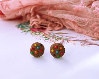 Polymer clay food inspired m&m studded cookie earrings, studs, handmade