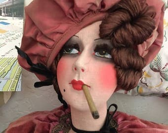 Super Rare Smoker doll French Flapper Boudoir