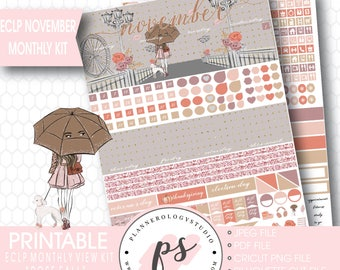 Rose Fall November 2017 Monthly View Kit Printable Planner Stickers (for use with ECLP) | JPG/PDF/Silhouette Compatible Cut File