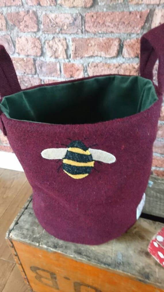 Hand Crafted Harris Tweed storage bag with bumbleb bee