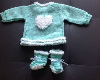 Baby jacket or vest set green heart of water and bench