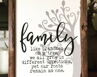 Family Tree Wood Sign - Family like Branches of a Tree - Home Decor - Farmhouse - Rustic