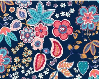 Traditional Flowers in Navy Cotton jersey