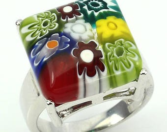 Millefiori Glass Sterling Silver Ring Size 8