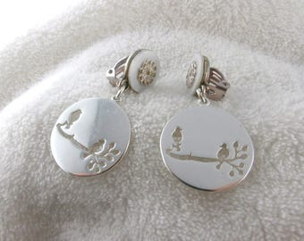 Earring clip white silver birds (made in France)