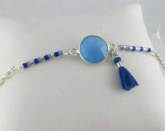 Bracelet silver Bosphorus chalcedony from Peru (made in France)