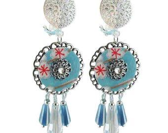 Earrings clips turquoise Celeste (made in France)