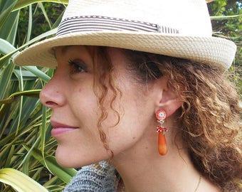 Orange Jade earrings clips