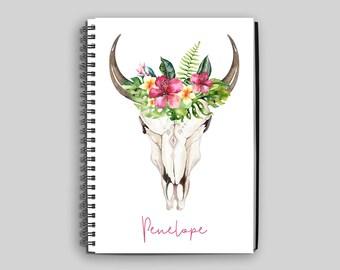 Boho Skull with Flowers Notebook ~ Personalized Journal ~ Custom Boho Diary ~ Cattle Skull Notebook ~ Personalized Gift ~ Boho Gift ~ Boho