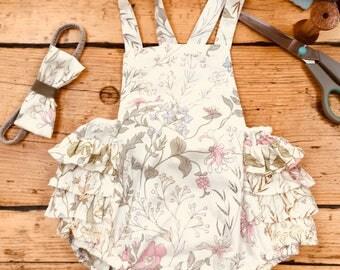 Vintage fabric baby romper, handmade, frilly romper