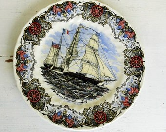 Currier & Ives decorative plate Theoxena masted ship tall ship frigate by Churchhill collectible plate made in England English vintage