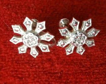 Sterling and Marcasite Snowflake Screw Back Earrings