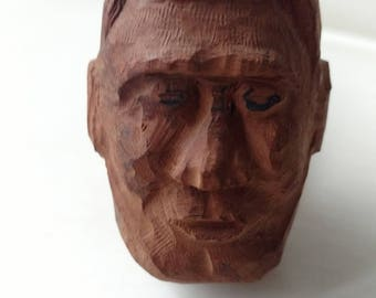 Hand carved wood figural smoking pipe