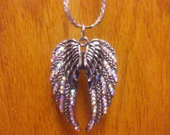 Angel wings , pendant necklace. Handmade, sterling silver plated chain.