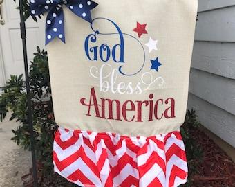 God bless America patriotic garden flag