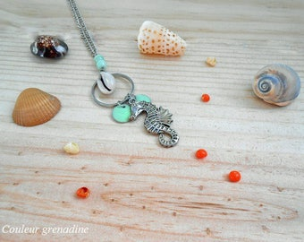 Marine necklace beads and pellets shell seahorse, gift idea party a grand mothers, Easter