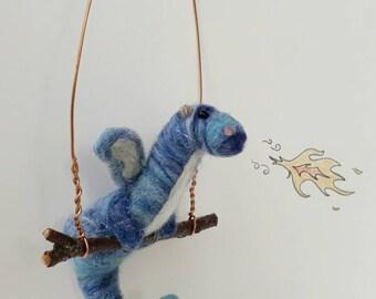 Dragon. Needle Felted Dragon. Felted Dragon. Felt Blue Dragon. Wool Dragon. Needle Felted Animal. Fantasy Creature. Blue Dragon. Needle Felt