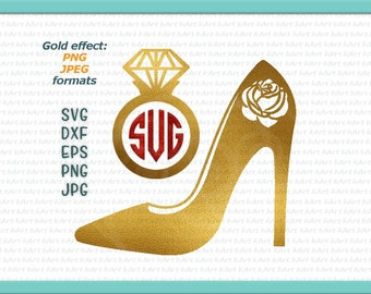 golden high heel iron on, gold woman shoe printable, gold ring iron on, diamond ring iron on, diamond svg, high heel svg, wedding iron on