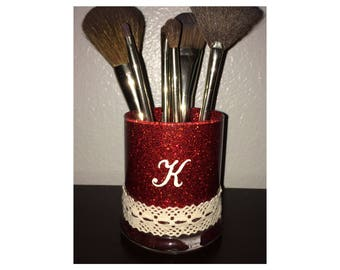 Personalized with your initials makeup brush holder