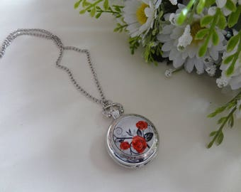 Long necklace red rose glass dome cabochon silver plated pocket watch