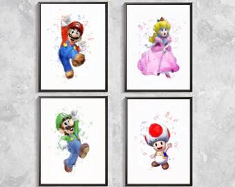 Super Mario Print, Super Mario Bros Art, Mario Watercolor, Video Game Art, Mario Wall Decor, Super Mario Birthday Party, Super Mario poster