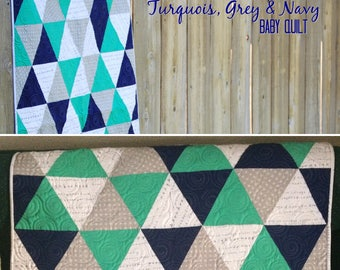 Vibrant Triangles Baby quilt