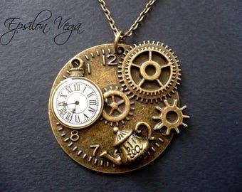 Alice in Wonderland Steampunk necklace - Tea-pot, pocket watch and gears