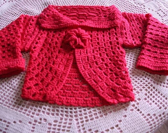 Red Bolero rounded long sleeve 2/3 years old hand made crochet
