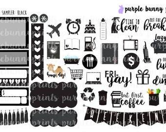 Black Monochrome Sampler // Planner Stickers!