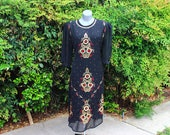 Vintage Indian Tunic Dress, Ethnic Print, Sequin, Sheer, Black & Red, 90s, Dressy, Formal, Evening Wear, Wedding, Size Medium - Large