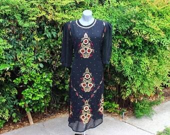 Vintage Indian Tunic Dress, Ethnic Print, Sequin, Sheer, Black & Red, 90s, Dressy, Formal, Evening Wear, Wedding, Size Medium - Large