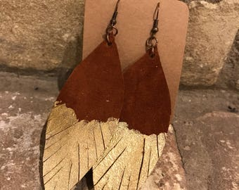 Gold Dipped CHESTNUT BROWN Leather Feather Earrings- 2.5 inch Dangle Earrings